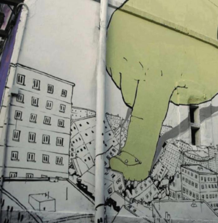 grafitti sobre inmuebles antiguos