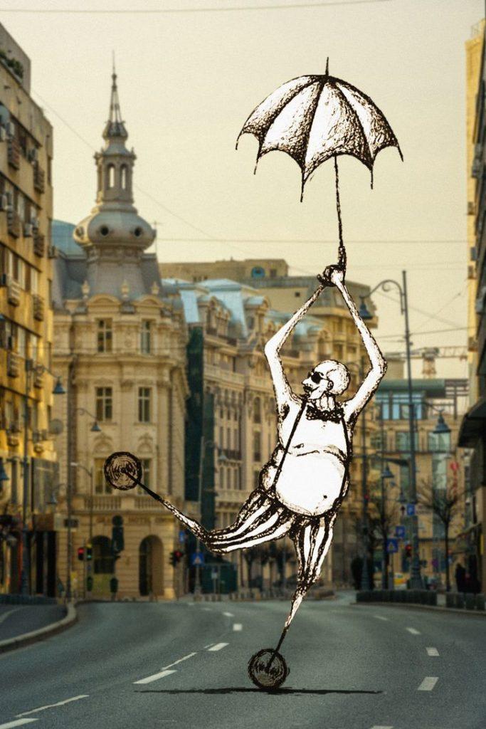 calles en las ciudades, paraguas
