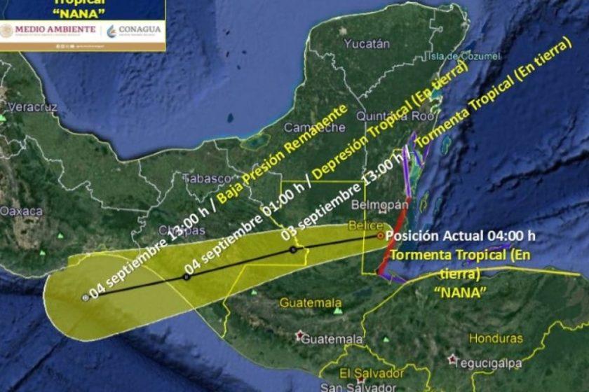 Huracán Nana mapas y trayectoria