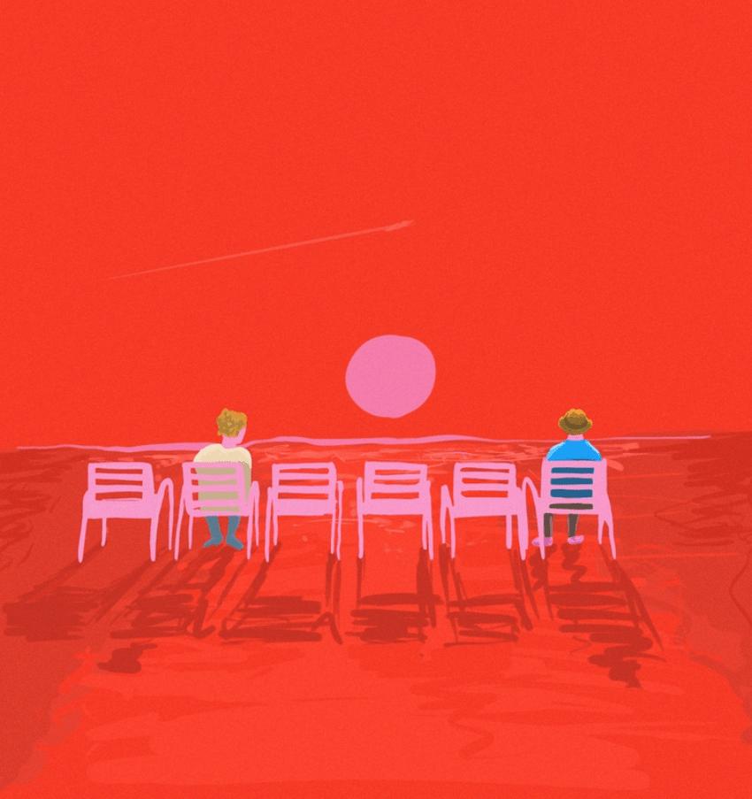 sentados en sillas, rojo, aislamiento