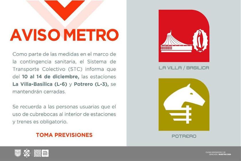 Cierran Metro Potrero y La Villa