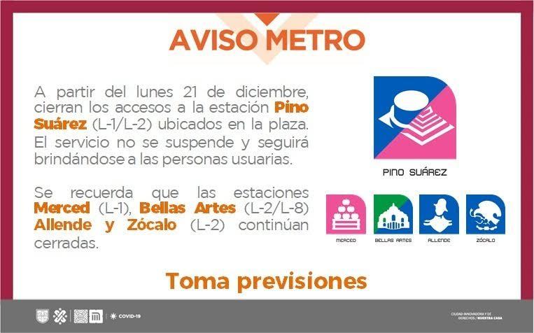 Anuncio del cierre de accesos a la estación Pino Suárez del Metro.