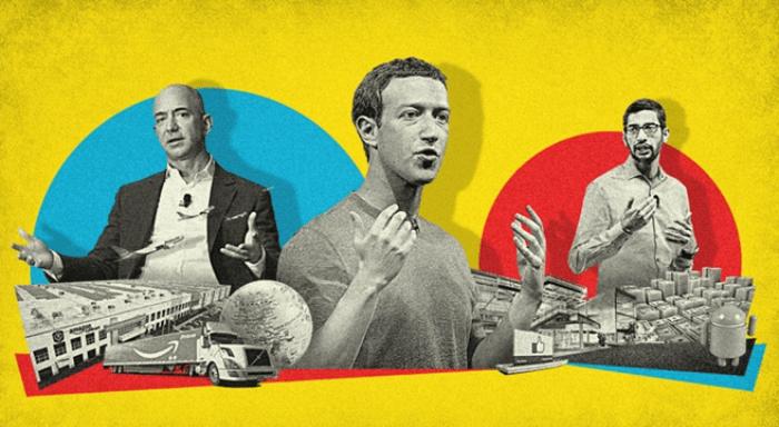 titanes tecnologicos, amazon, facebook, google