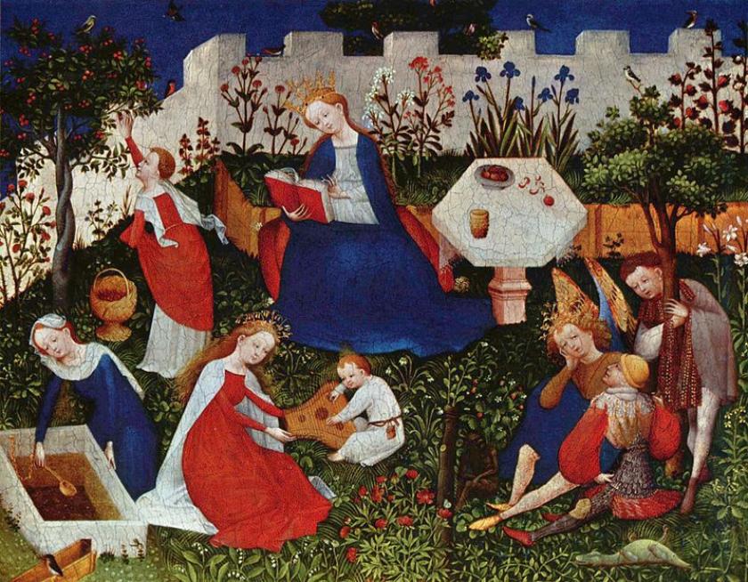 María en el huerto cerrado, con santos o Jardín del Paraíso