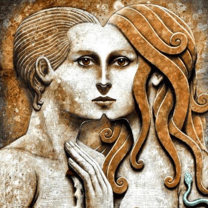 hombre y mujer juntos, separación en el mito